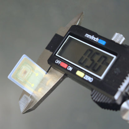 Converted payment micro-card implant in calipers